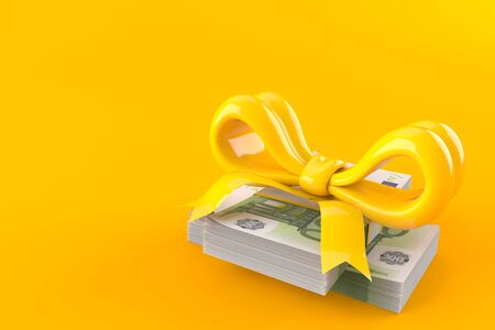 Euro currency with ribbon isolated on orange background. 3d illustration Stock Photo