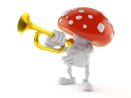 Toadstool character playing the trumpet isolated on white background. 3d illustration