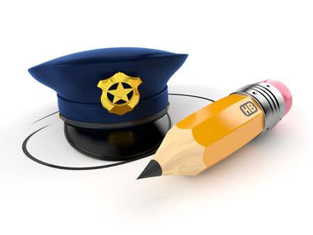 Police hat with pencil isolated on white background. 3d illustration 写真素材