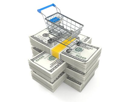 Shopping cart on stack of money isolated on white background. 3d illustration