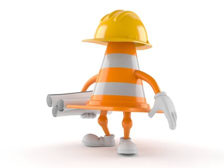 Traffic cone character holding blueprints isolated on white background. 3d illustration