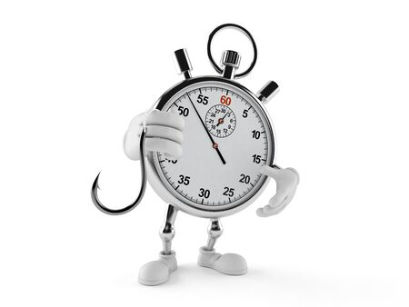 Stopwatch character holding fishing hook isolated on white background. 3d illustration Archivio Fotografico - 129013453