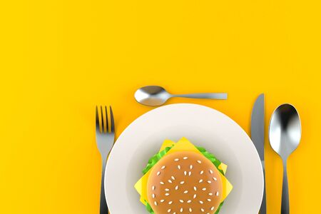 Meal with hamburger isolated on gray background. 3d illustration 스톡 콘텐츠