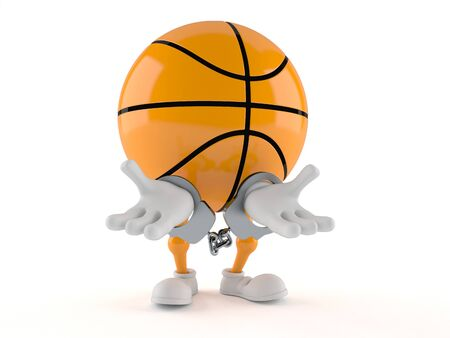 Basketball character in handcuffs isolated on white background. 3d illustration