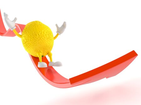 Lemon character sliding on red arrow isolated on white background. 3d illustration
