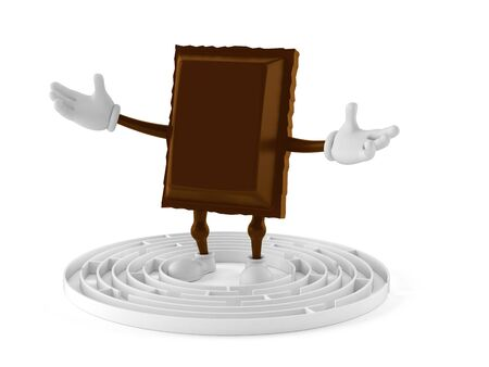 Chocolate character inside maze isolated on white background. 3d illustration 版權商用圖片