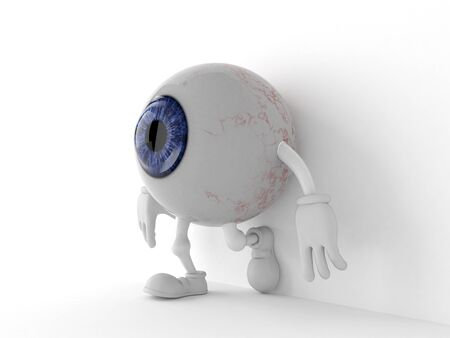 Eye ball character leaning on wall on white background. 3d illustration