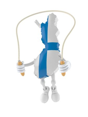 Finland character jumping on jumping rope isolated on white background. 3d illustration