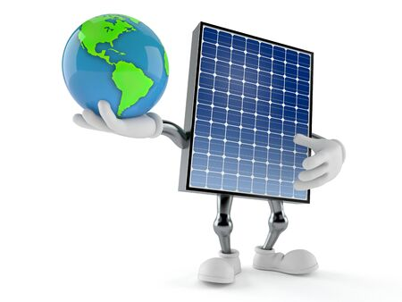 Photovoltaic panel character holding world globe isolated on white background. 3d illustration Archivio Fotografico - 129013888