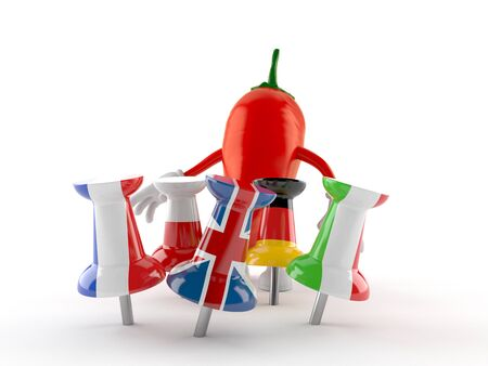 Hot chili pepper character with thumbtacks in flags isolated on white background. 3d illustration