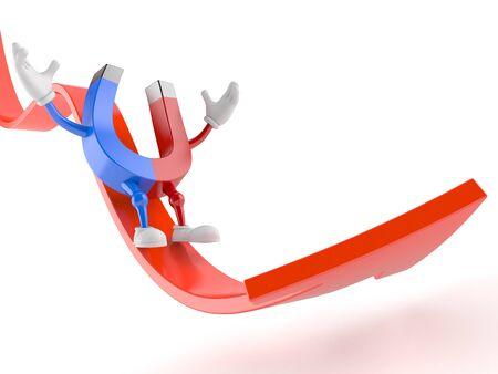 Horseshoe magnet character sliding on red arrow isolated on white background. 3d illustration Stockfoto