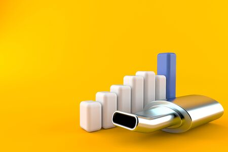 Muffler with chart isolated on orange background. 3d illustration 版權商用圖片 - 129013932