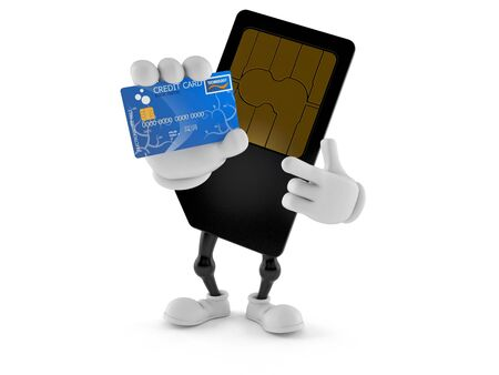 SIM card character holding credit card isolated on white background. 3d illustration