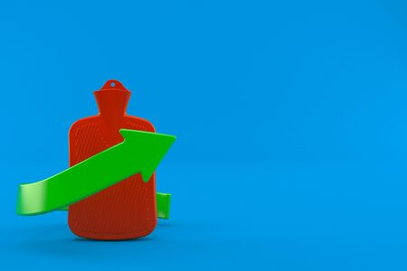 Hot water bottle with green arrow isolated on blue background. 3d illustration