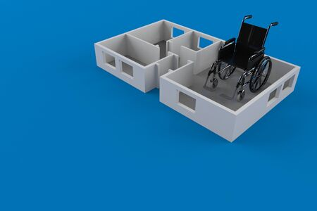 Wheelchair inside house plan isolated on blue background. 3d illustration