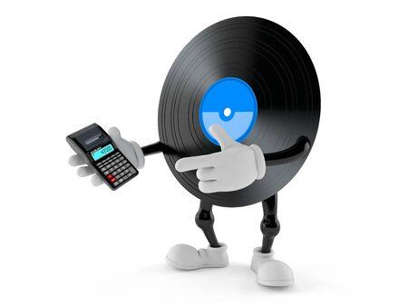 Vinyl character using calculator isolated on white background. 3d illustration Banco de Imagens