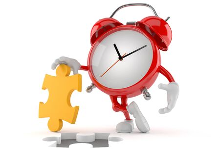 Alarm clock character with jigsaw puzzle isolated on white background. 3d illustration