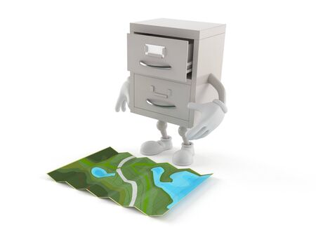 Archive character looking at map isolated on white background. 3d illustration