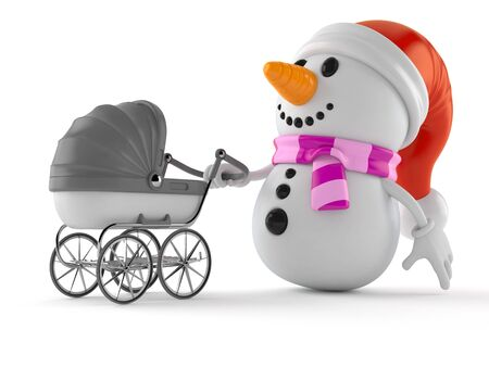 Snowman character with baby stroller isolated on white background. 3d illustration