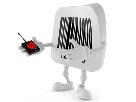 Barcode character pushing button on white background. 3d illustration