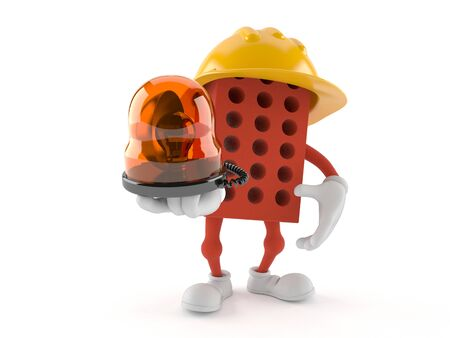 Brick character holding emergency siren isolated on white background. 3d illustration Stockfoto