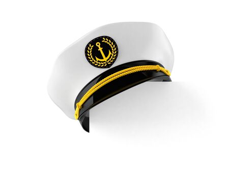 Captain's hat with copy space on white background. 3d illustration Stockfoto