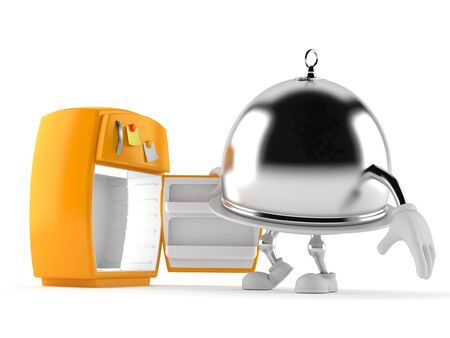 Silver catering dome character with open fridge isolated on white background. 3d illustration Stockfoto