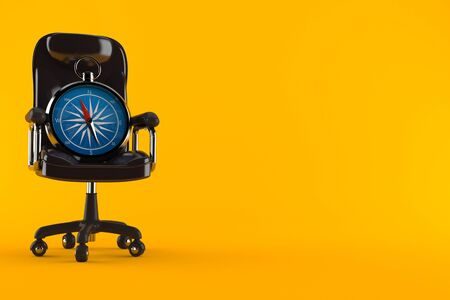 Compass on business chair isolated on orange background. 3d illustration Stockfoto