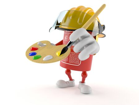 Fire extinguisher character holding paintbrush and paint palette isolated on white background. 3d illustration