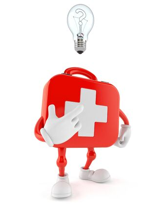 First aid kit character having an idea isolated on white background. 3d illustration