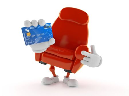 Armchair character holding credit card isolated on white background. 3d illustration Stockfoto