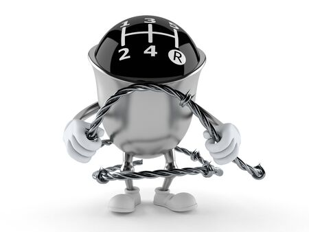 Gear knob character holding barbed wire isolated on white background. 3d illustration