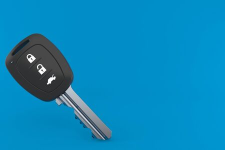 Car remote key isolated on blue background. 3d illustration Stock Photo