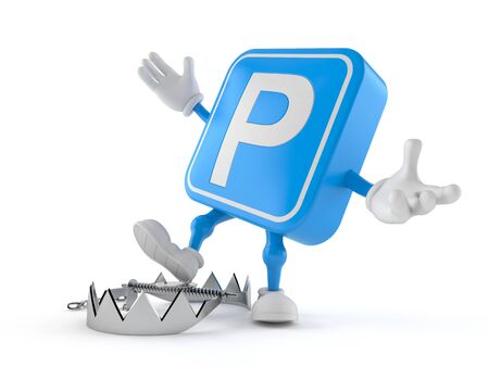 Parking symbol character with bear trap isolated on white background. 3d illustration Reklamní fotografie