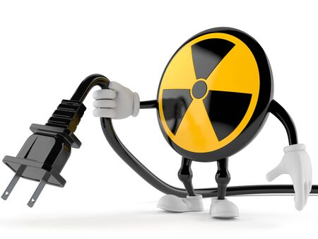 Radioactive character holding electric cable isolated on white background. 3d illustration