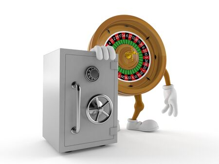 Roulette character with safe isolated on white background. 3d illustration Фото со стока