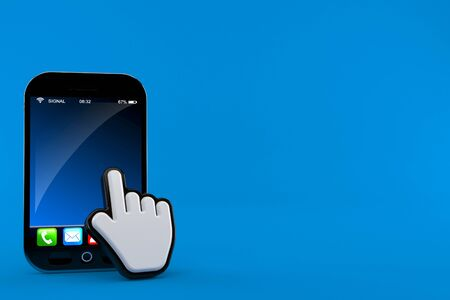 Smartphone with web cursor isolated on blue background. 3d illustration