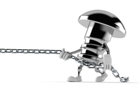 Bolt character pulling chain isolated on white background. 3d illustration Фото со стока