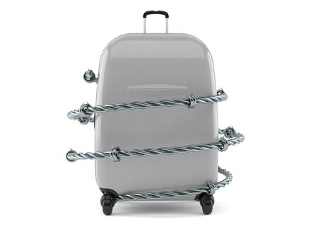 Suitcase with barbed wire isolated on white background. 3d illustration Фото со стока