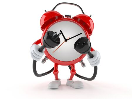 Alarm clock character with electric plug and outlet isolated on white background. 3d illustration Stockfoto