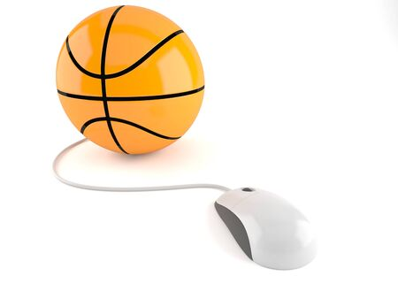 Basketball ball with computer mouse isolated on white background. 3d illustration