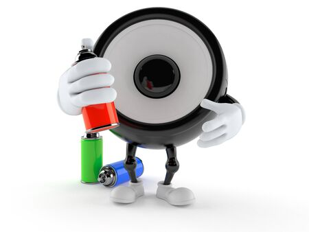 Speaker character with spray cans isolated on white background. 3d illustration