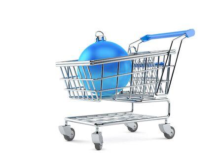 Christmas bauble inside shopping cart isolated on white background. 3d illustration 스톡 콘텐츠