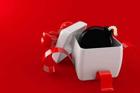 Gift with bomb isolated on red background. 3d illustration