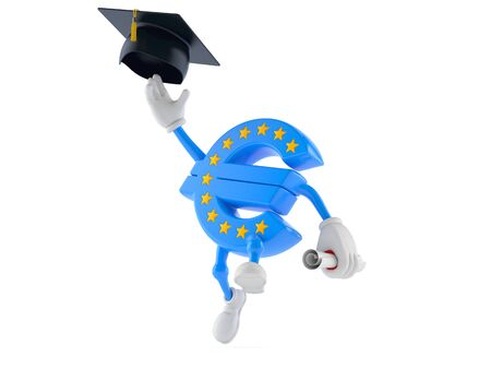 Euro currency character throwing mortar board isolated on white background. 3d illustration 写真素材 - 129408083