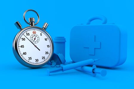Healthcare background with stopwatch in blue color. 3d illustration