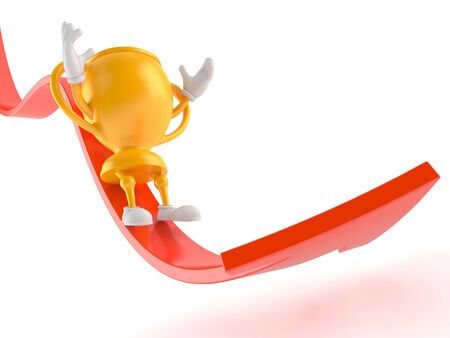 Golden trophy character sliding on red arrow isolated on white background. 3d illustration 写真素材
