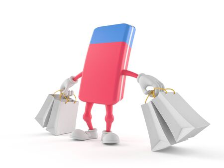 School rubber character holding shopping bags isolated on white background. 3d illustration