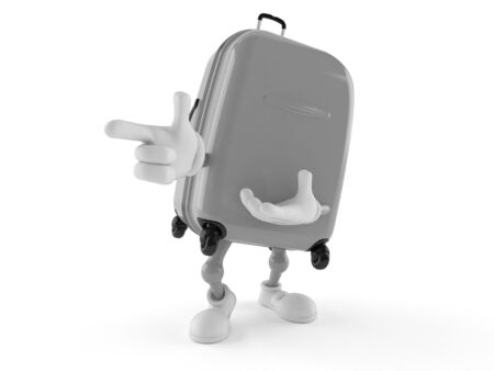 Suitcase character pointing finger isolated on white background. 3d illustration