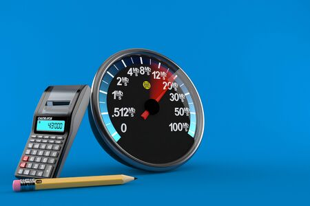 Network meter with calculator and pencil isolated on blue background. 3d illustration